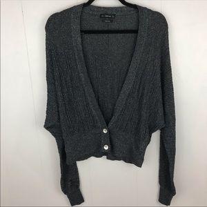 Zara Knit Gray Black Sparkle Cardigan Size Small